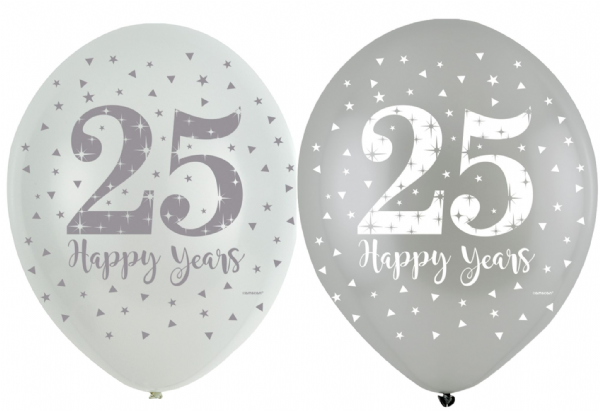 Sparkling Silver Anniversary Latex Balloons
